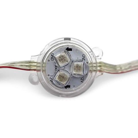 Комплект круглих LED модулів WS2811, оптична лінза, 3 світлодіоди SMD5050, 30 мм, IP67, 20 шт.