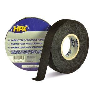 Стрічка ізоляційна тканинна HPX 19 мм, 25 м, чорна (картонна упаковка)