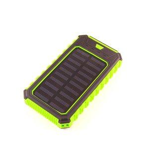 Зарядний пристрій на сонячних батареях 10000 мАг (2×USB, IP65, зелений)
